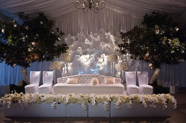 love this  white wedding reception with sheer draping