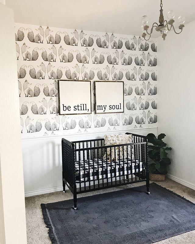 Modern Nursery Wallpaper: Gender Neutral Modern Woodland Scandi Nursery With Fox
