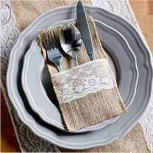"""50Pieces Vintage 4""""x8"""" Hessian Burlap Lace Wedding Tableware Pouch Cutlery Holder Decorations Favor(China (Mainland))"""
