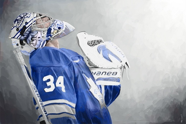 With his head raised up - Thankful not just for the win - But in all Christ gave. (James Reimer painting by Asylem). I love that Reimer is a proud Christian and brings glory to God through his talent :)