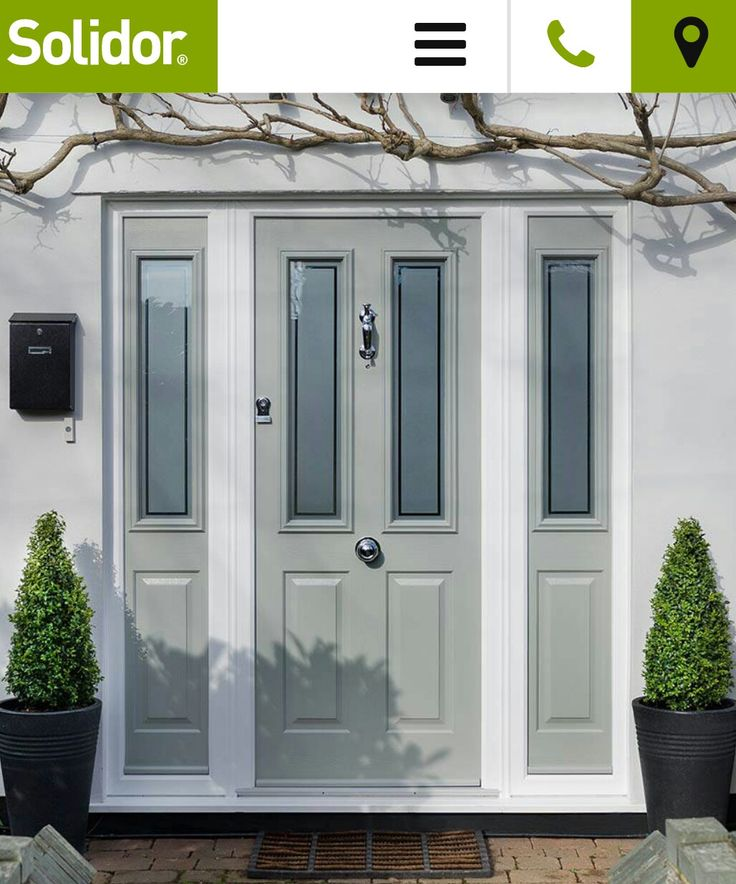 Grey green composite front door and side panels