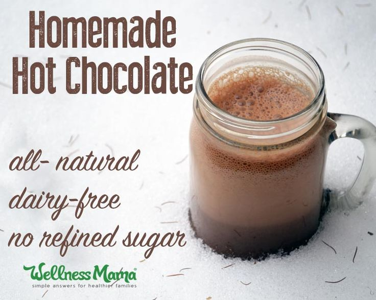 This real food hot chocolate recipe is a healthy version of a classic with cocoa powder, coconut oil or butter, vanilla, cinnamon, and more.