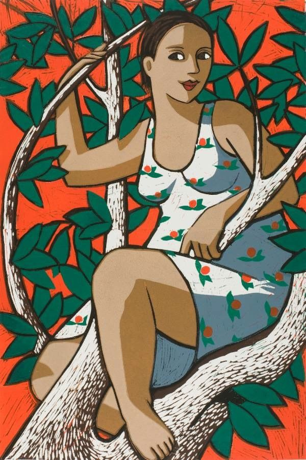 Goddess of the Orange Tree, limited edition linocut print, image 600x400mm, by Anita Klein. http://www.castorandpollux.co.uk/goddess-of-the-orange-tree-limited-edition-linocut-print-image-600x400mm-by-anita-klein/dp/12637