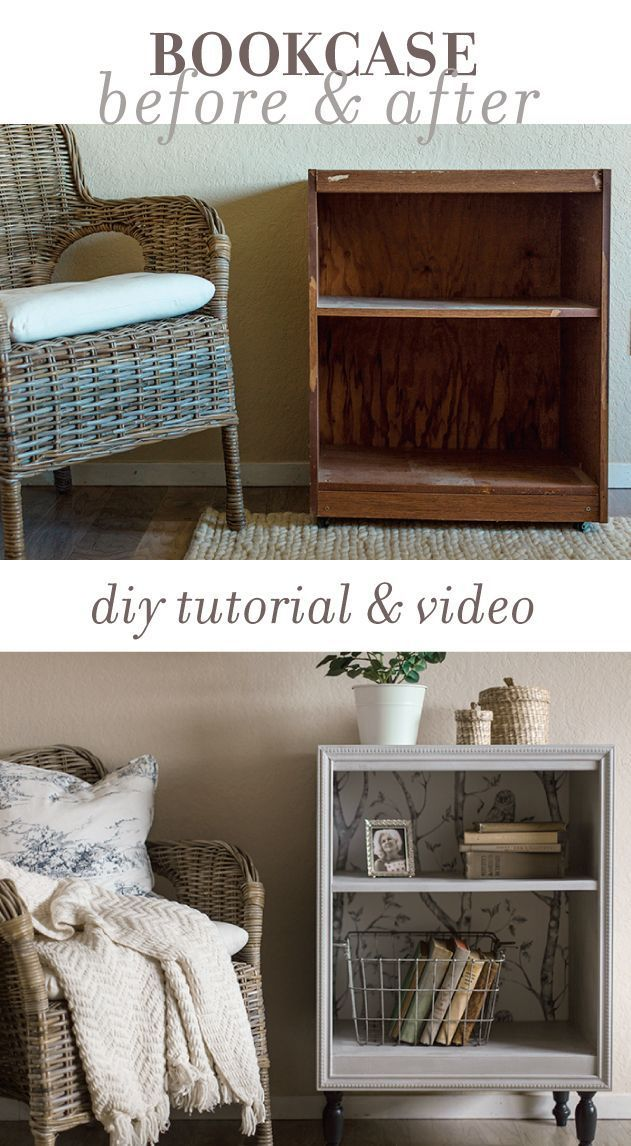 How to turn an old thrift store bookcase into a custom night stand using trim, paint and wallpaper... on a DIY budget!