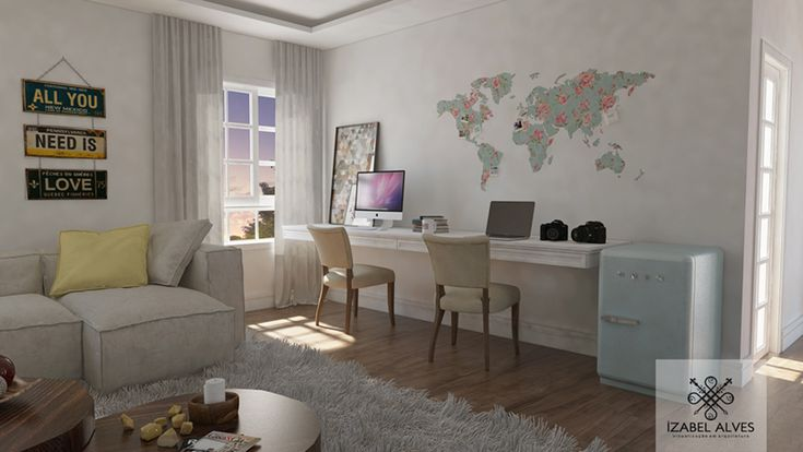 Projeto 3D de uma leitora do blog Depois dos Quinze para o escritório de Bruna Vieira.