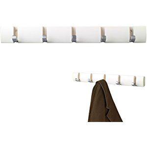 Baytter Hakenleiste Garderobenleiste Wandgarderobe Kleiderhaken mit 5 Haken, aus Holz (weiß)