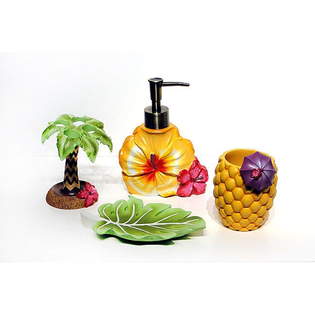 Brand New Tropical 4 Piece Bath Accessory Set Palm Trees Beach Island Ocean Soap