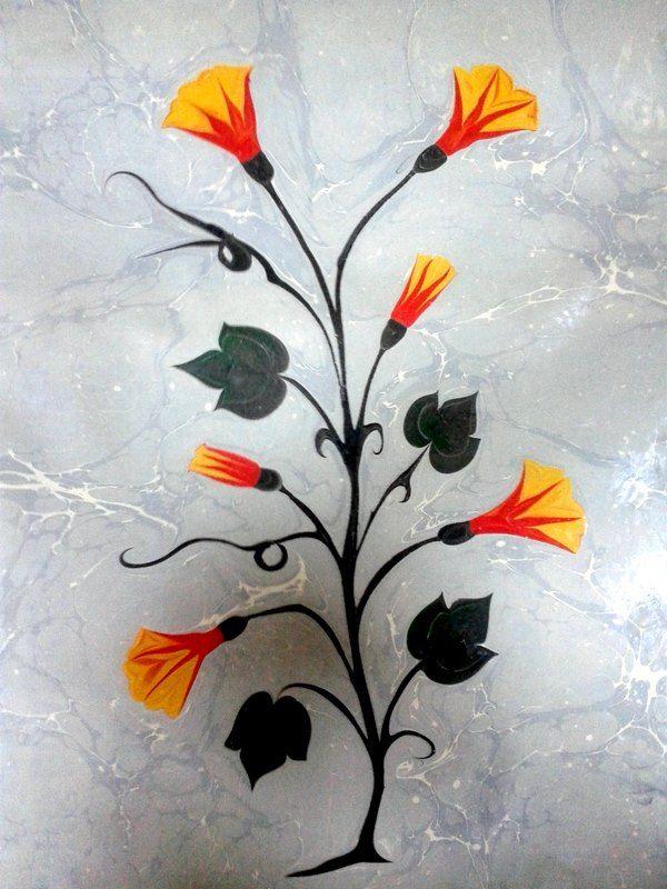 Morning glory flowers,  Ebru marbled paper