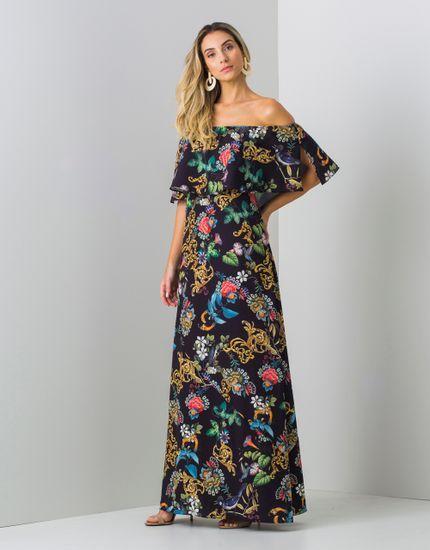 Vestido Longo Cigana Estampa Floral Barroco - zinzane - mobile ... b6ee037430