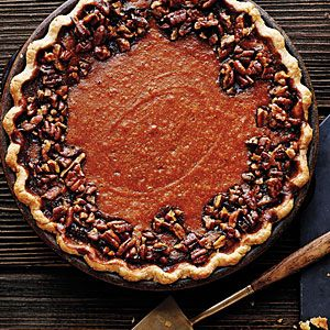 Sweet potato pecan pie -We adapted this recipe from Devil's Teeth Baking Company to create a border that shows off the bright filling. To completely cover the pie, just double the topping.