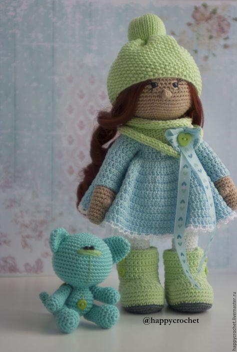 Купить Весеннее настроение - салатовый, голубой, кукла ручной работы, кукла в подарок, кукла