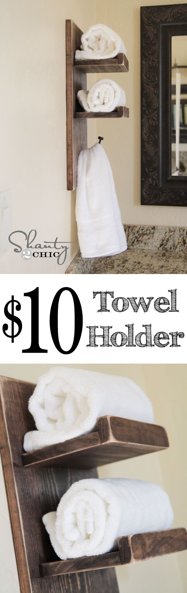 Super cute and easy DIY Towel Holder at www.shanty-2-chic.com … LOVE THIS!