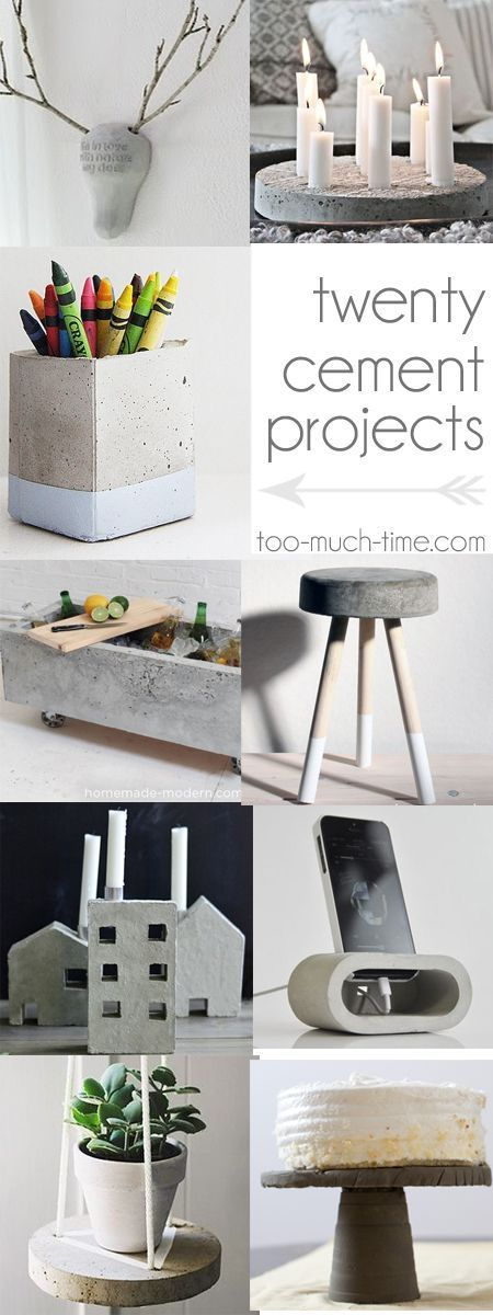 20 cement and concrete DIy craft projects from Too Much Time on My Hands