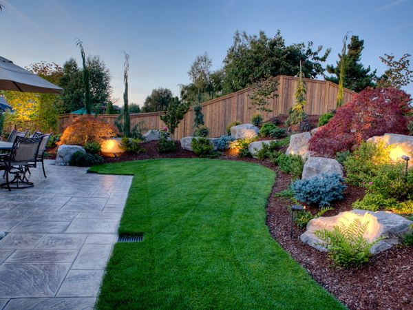 Outdoor Living Spaces - Front Yard, Backyard Landscape Design | Portfolio. Love the lighting.
