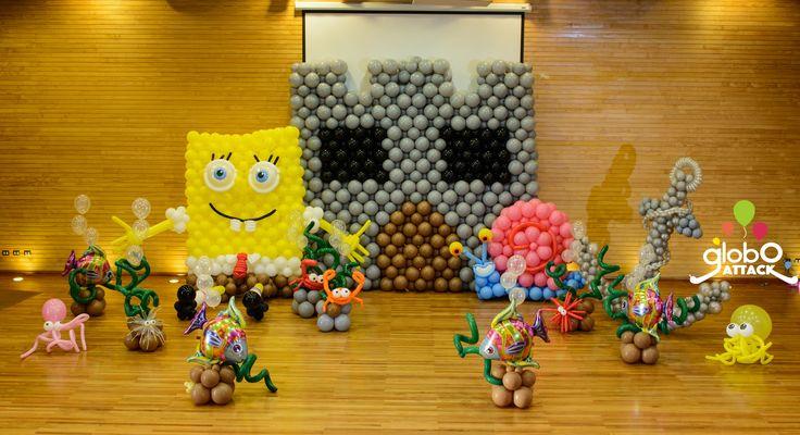 Fondo de Valdivia , arte con globos , bob esponja