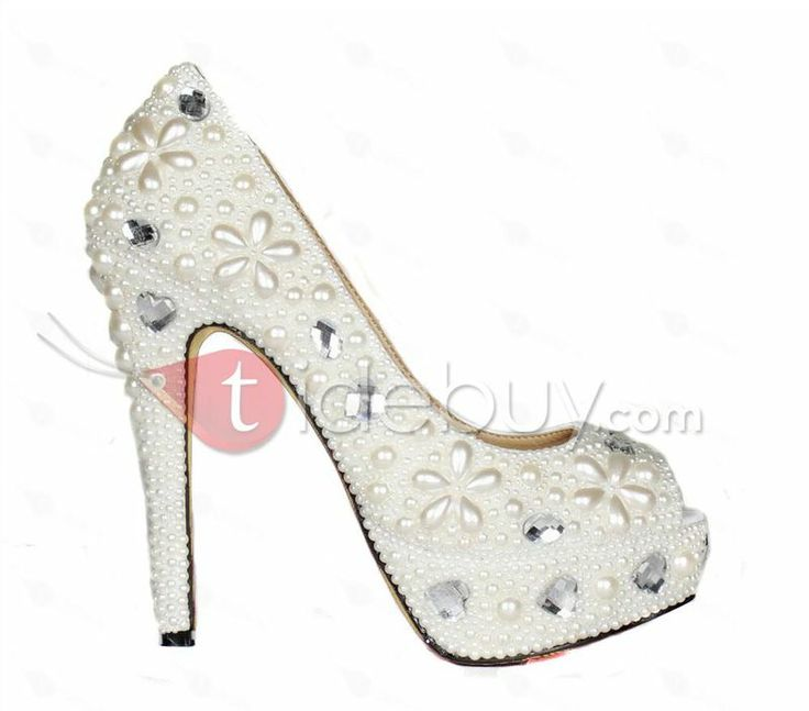 Pearl Peep Toe Stiletto Heels Women Pumps : Tidebuy.com