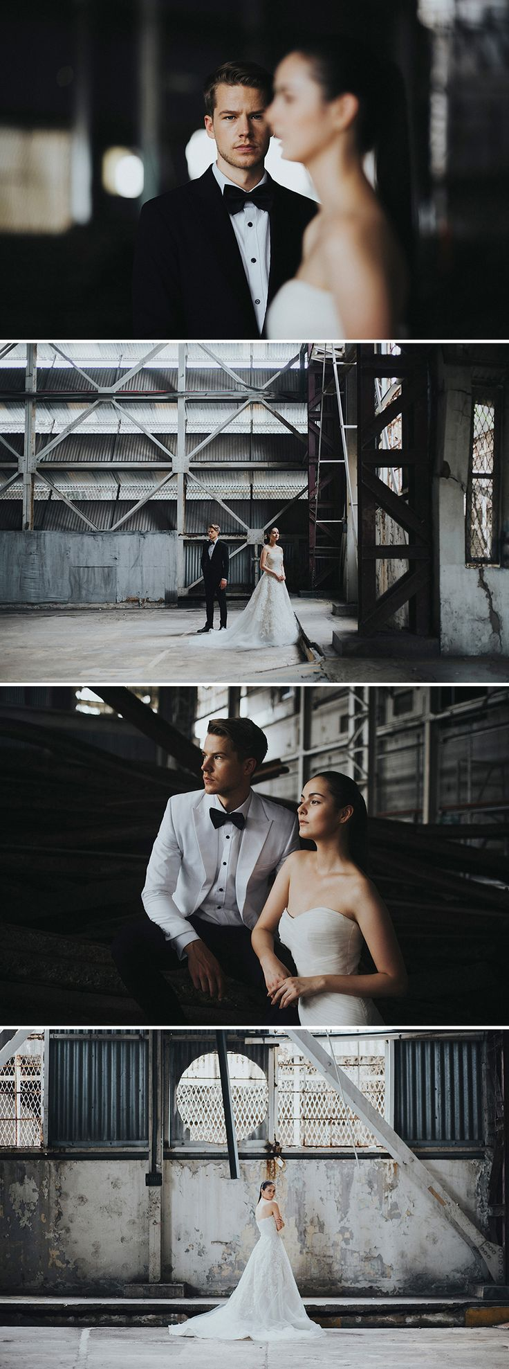 Beautiful poses against aged buildings for a more rustic feel // Gazetted for conservation, the former Kallang Airport was Singapore's first commercial international airport, touted as one of the most modern airports of its time. Its rich history was the perfect complement to the moody industrial vibes that the airport contributed to this styled shoot with AndroidsinBoots, The Proposal Bridal, Wong Hang Distinguished Tailor and The Make Up Room.