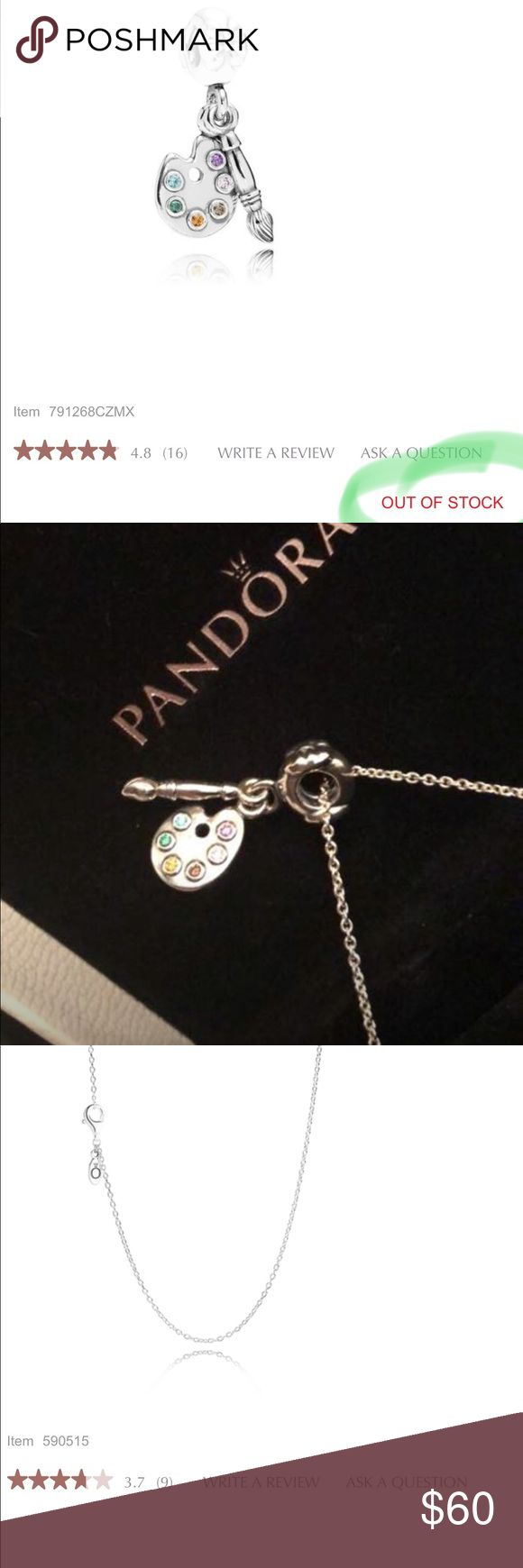 Artist's Charm, CZ w/ sterling silver necklace Authentic PANDORA: Artist's Palette Dangle Charm, Multi-Colored CZ w/ sterling silver necklace chain. NEW in box. This was a gift so I don't have a tag. The chain is worth $30 and the charm has been discontinued so there is limited stock on this unique style. The charm was originally priced at $50. Comes with white pandora box.   BOGO 50% off my whole closet. Pandora Jewelry Necklaces