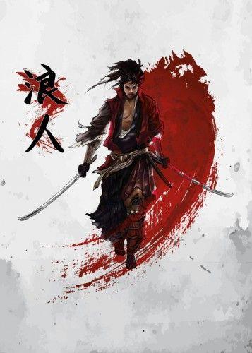 ronin samurai warrior japanese japan osaka tokyo bushido budo katana samuraisword sword shinobi ninja martial arts art martialarts Illustration