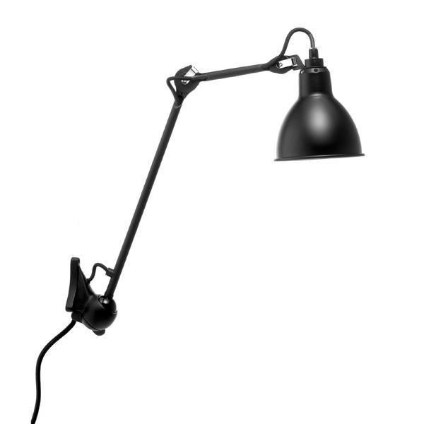 Lampe Gras N222 Vegglampe Matt Sort Kropp & fritt valg av skjermfarge