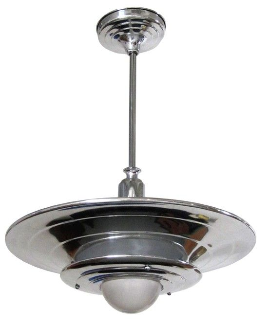 These two American art deco ceiling lamps resembling flying saucers were made in the 1930's by the Miller Company of Meriden, Connecticut.  The ceiling lights consist of two graduated size aluminum shades separated so that light can emit from the space in between each shade.  An aluminum shaft supports the shades from an aluminum ceiling cap and a milk glass globe centers the lower shades.