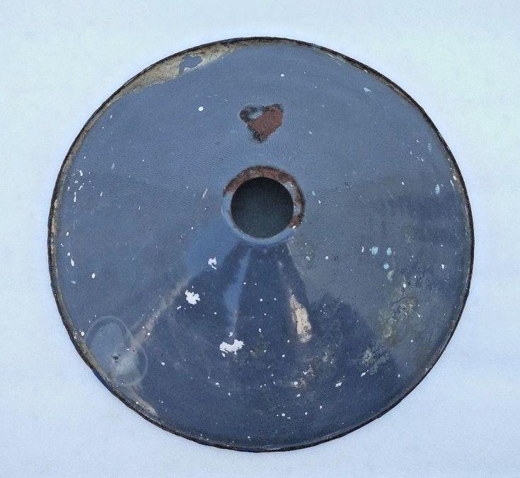 VINTAGE ORIGINAL OLD IRON PORCELAIN ENAMEL GRAY LAMP SHADE