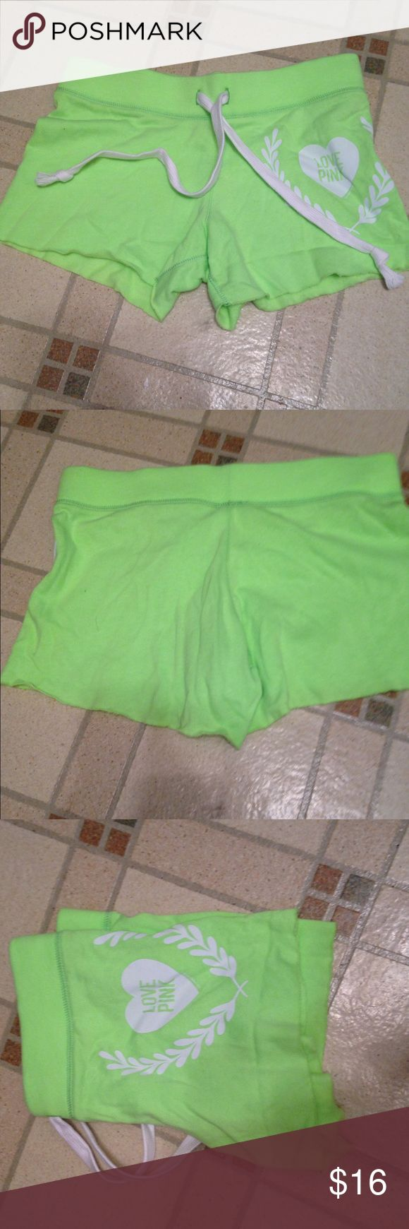 Pink Victoria's Secret neon green shorts New without tags's neon green shorts from pink a little wrinkled from storage but otherwise in excellent condition smoke-free pet free home PINK Victoria's Secret Shorts