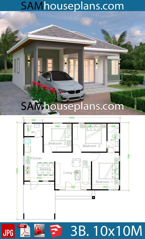 10x10 Bedroom Floor Plan: House Plans 10x10 With 3 Bedrooms In 2020