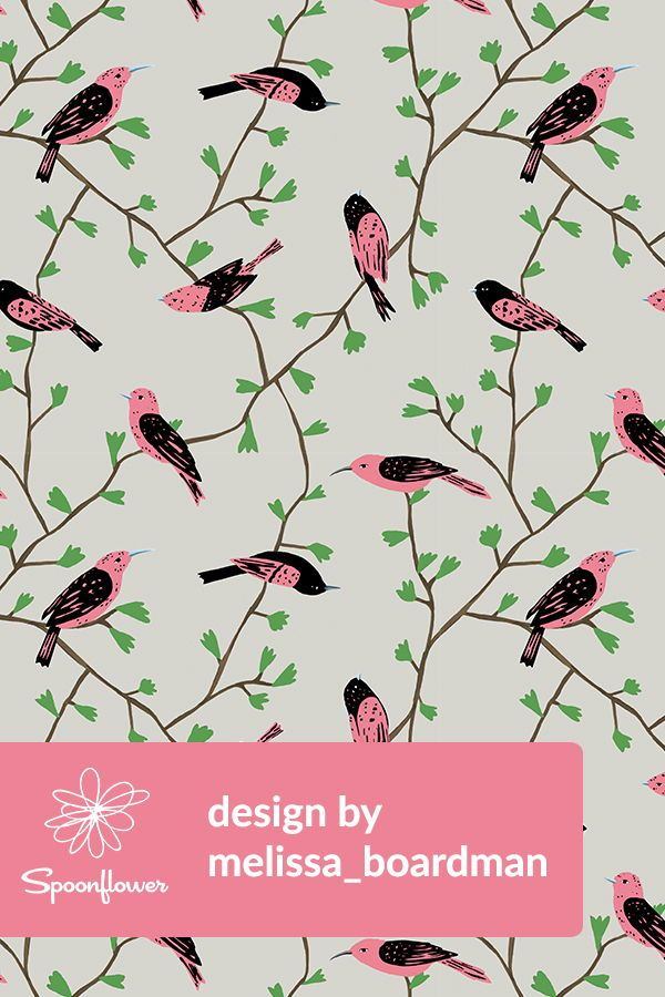 Colorful Fabrics Digitally Printed By Spoonflower Pink Birds In Vines Natural Pink Bird Hand Illustration Spoonflower Fabric