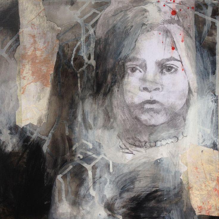 Irina Schuvaloff, My own path, 2016, mixed media on MDF-board, 50 cm x 50 cm