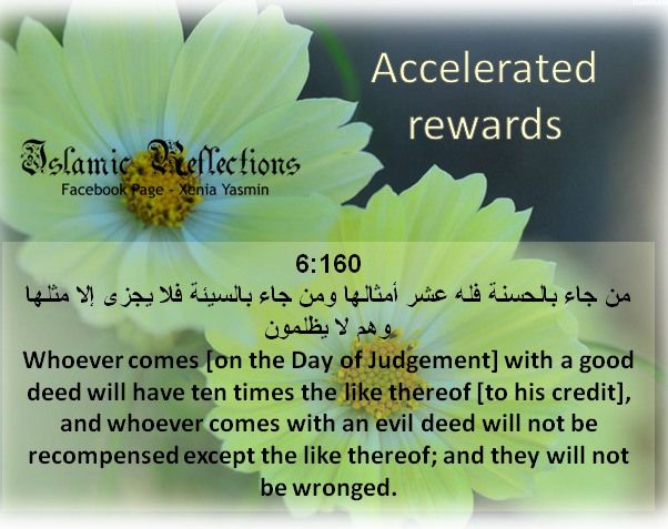 Whoever comes [on the Day of Judgement] with a good deed will have ten times the like thereof [to his credit], ~ Information about Islam