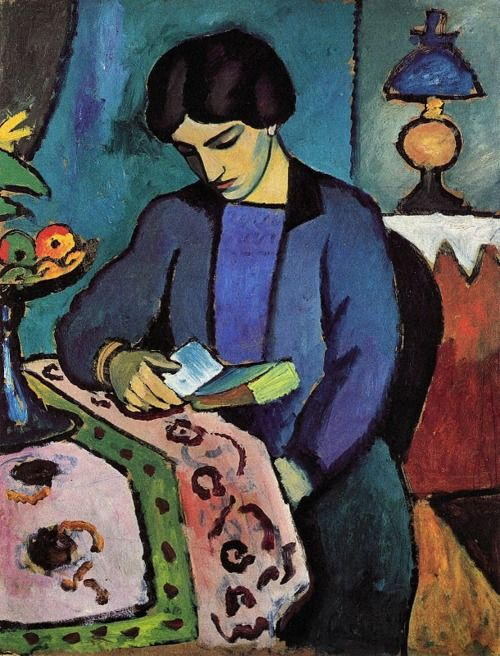 "Frau des Künstlers,  THE ARTIST'S WIFE, 1912,  by August MACKE (Germany, 1887-1914). ""One of leading members of the German Expressionist group Der Blaue Reiter (The Blue Rider).""  Sadly this talented young artist's life & talent were destroyed in 2nd month of WWI. He was 27 years old. ~Wikipedia"