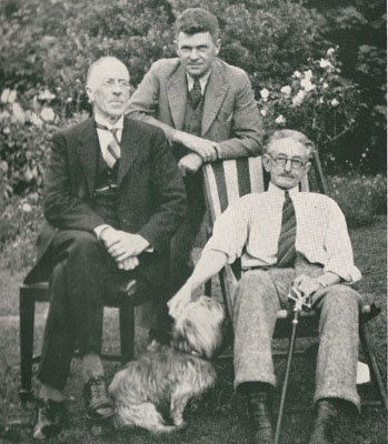 In the garden with R.H. Croll, A.H. Chisholm and C.J. Dennis Toolangi, 1938