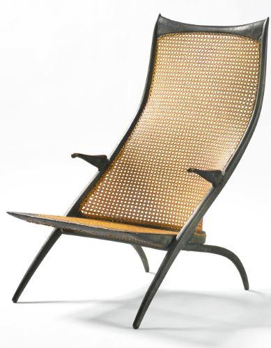 "Dan Johnson: High Back ""Gazelle"" lounge chair, model 50 B, 1955 Patinated cast bronze & cane"