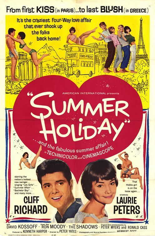 Summer Holiday (1963) -        ad feedback     A fabulous 60s Musical - 4 London Bus mechanics strike up a deal with London Transport. They do up a double decker London Bus, drive it around Europe as a hotel and if they make it they will own and be in charge of a whole fleet.   - Love it! The music is great!