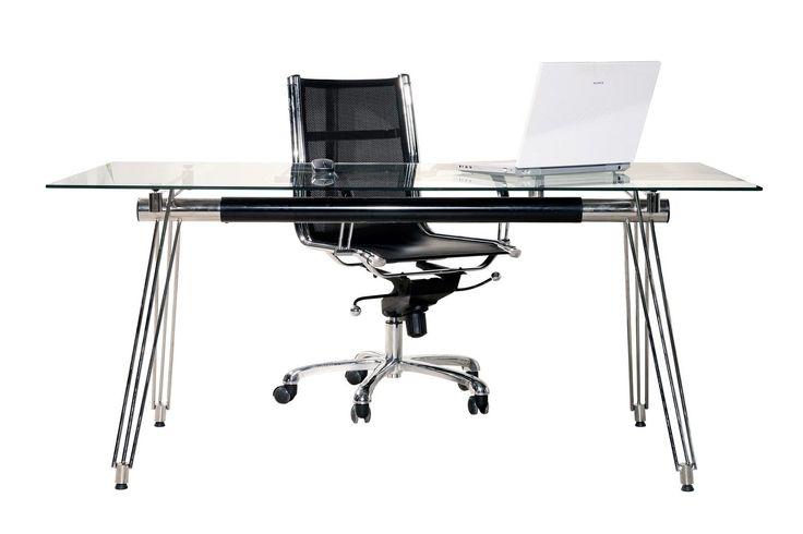 Bureau design en verre 160x80 cm UE - chrome noir - meuble table ordinateur