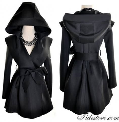 Hooded trench coat women fashion style . . click on pic to see more