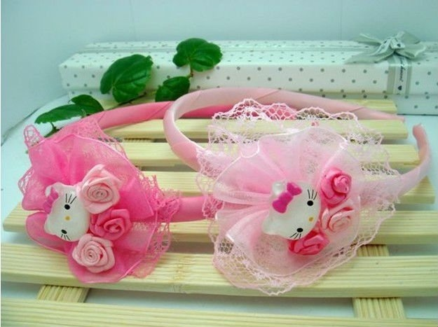 2 colors Sweet Hello Kitty girls lover shape hairbow hairband headband Hair accessories 20pcs/lot Free Shipping-in Hair Accessories from Apparel & Accessories on Aliexpress.com