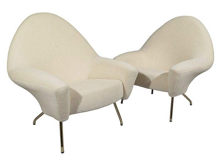 Pair of armchairs in Alpaca and brass legs. Model 770. Joseph-Andre Motte for Steiner. c1950. France