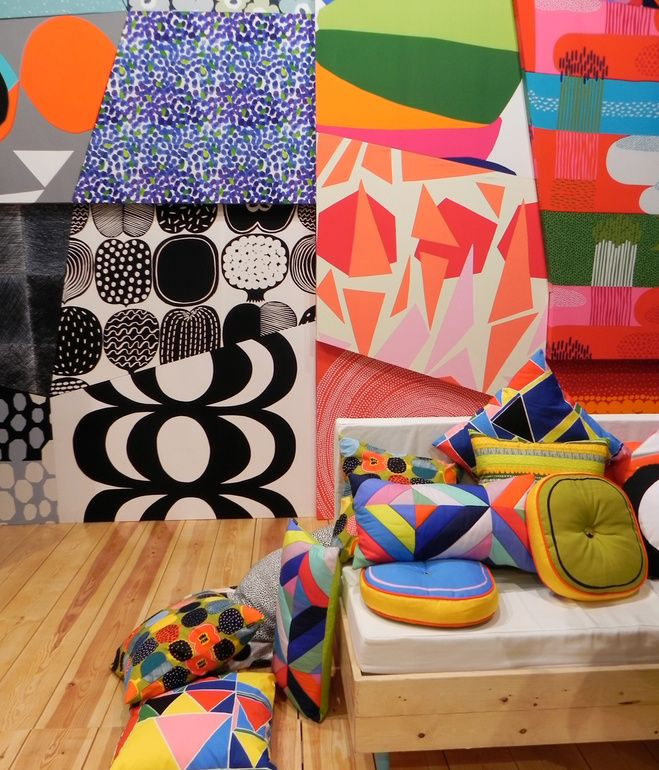 Making their usual colorful appearance at the show was Finnish textile brand Marimekko, who displayed rhombus-shaped swatches of the new season's fabrics across the walls of their booth like a giant psychedelic jigsaw. Photo by Ali Morris.