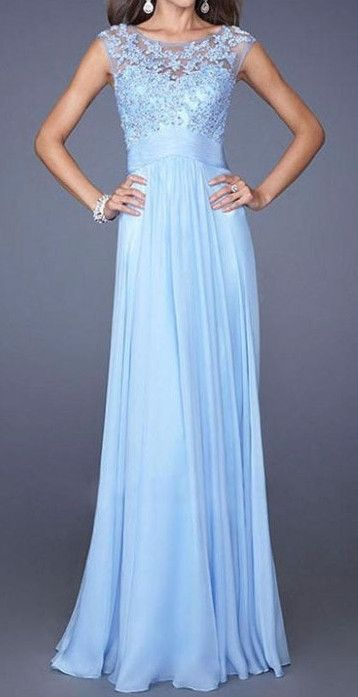 Cupshe Sky Blue Chiffon Lace Dress