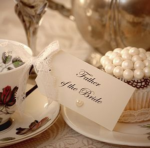 Ten Lace And Pearl Place Setting Tags