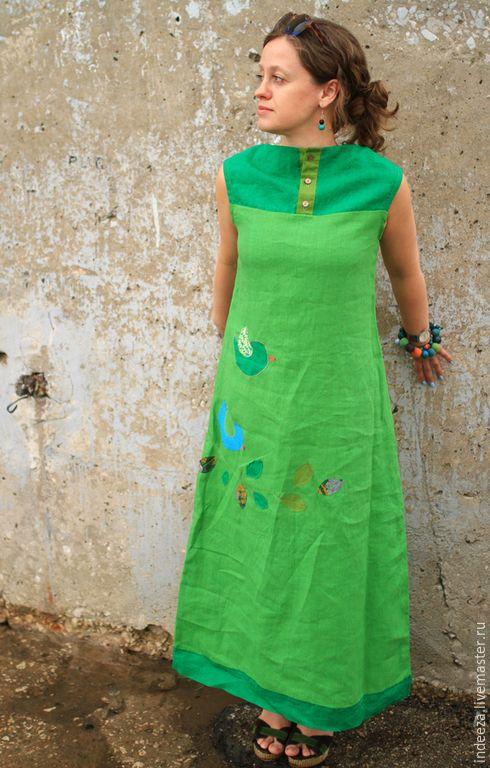 """Купить Платье-бохо """" Оттенки зеленого"""" - ярко-зеленый, платье, бохо, Аппликация, птицы"""
