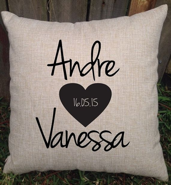 Personalised wedding cushions are a great gift for the bride and groom, a lovely keepsake of their special day to display in their lounge room or bedroom. Design features the couples first names along with a heart showcasing the date they were married.