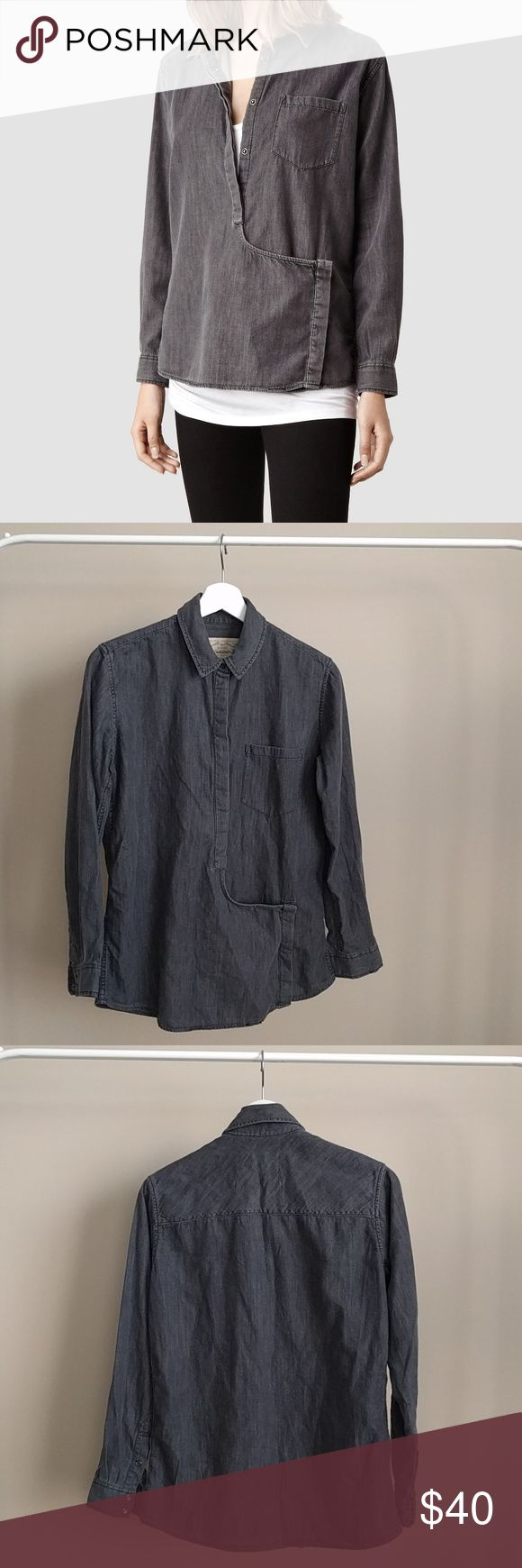 AllSaints // Route Shirt // US 4 AllSaints Route button up shirt  Grey Size US 4 // UK 8 Denim shirt  Pocket in front AllSaints Tops