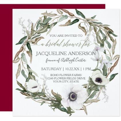 Bridal Shower Burgundy Anemone Olive Leaf Wreath Card - floral bridal shower gifts wedding bride party