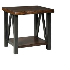 """Naturally chic with a touch of urban industrial flair, this two-tone end table beautifully accentuates your clean, contemporary sense of taste. Black metal base with angled braces supports a faux """"live"""" edge tabletop in a rich walnut tone. Lower shelf is just the spot for a pretty storage basket or display space. Signature Design by Ashley is a registered trademark of Ashley Furniture Industries, Inc."""