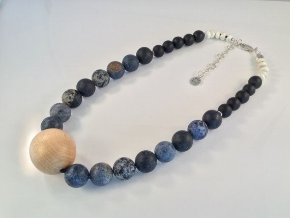 Hand made OOAK bead necklace  natural stone