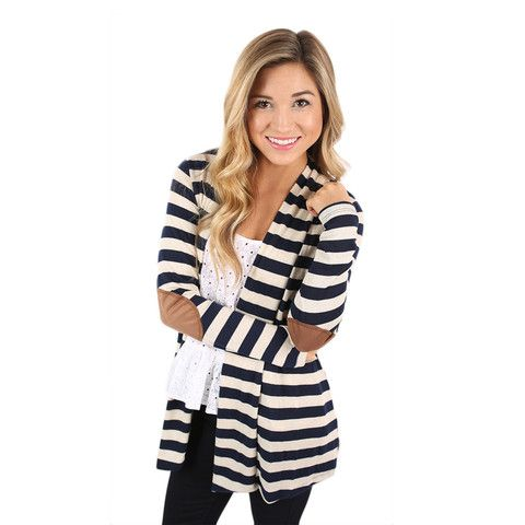 You need this striped cardi for your fall wardrobe! We love the suede elbow patches that make it so unique!