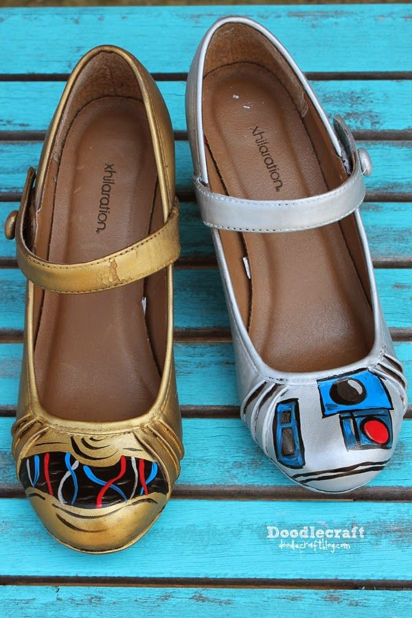 Star Wars C3PO and R2D2 Painted Shoes!  Painted shoes with rub 'n buff wax paint.  Shiny gold and silver leaf!